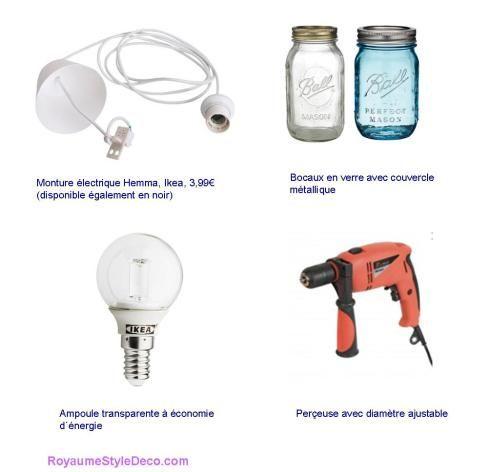 Accessoires pour fabrication de luminaire avec bocaux en verre ...