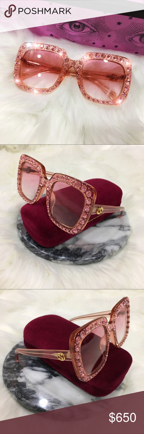 1670000669 Authentic Gucci Oversize Pink Crystal Sunglasses Authentic Gucci Oversize  Square-Frame Sunglasses with Crystals - GG00148S Excellent Condition
