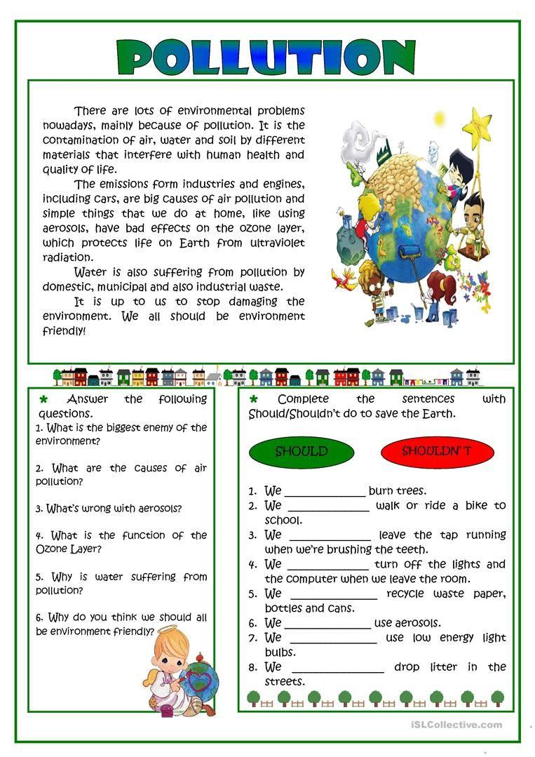 Pollution -reading worksheet - Free ESL printable worksheets ...