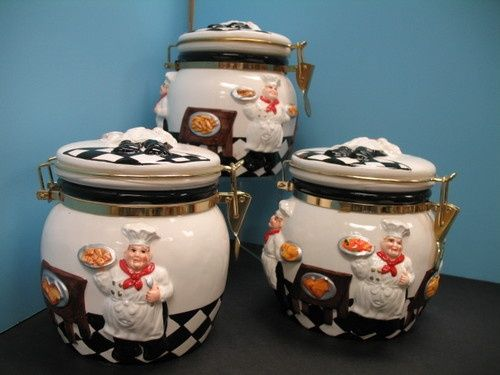 Fat Italian Chef Kitchen Decor | 3D Italian Fat Chef Canister Set Kitchen  Decor .