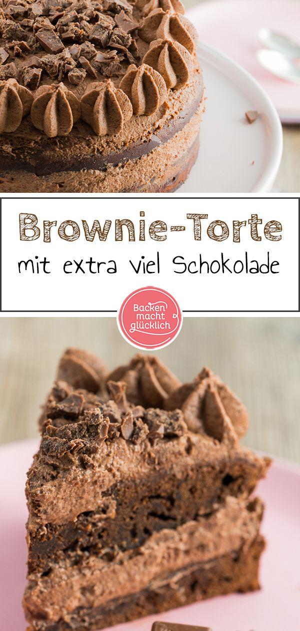 Schoko-Brownie-Torte | Backen macht glücklich #chocolatechipcookiedough