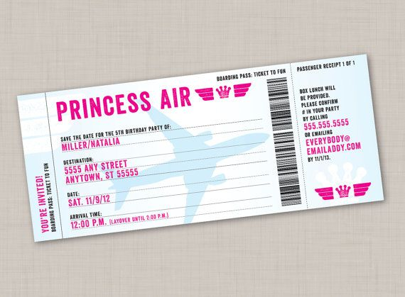 Boarding Pass Birthday Party Ticket Invitation by mollyandgordon - fake airline ticket maker