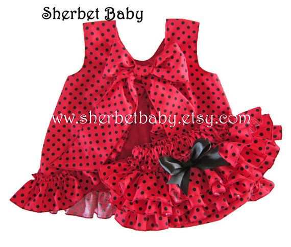 Red with Black Polka Dots Ruffle Pinafore and Sassy by SherbetBaby