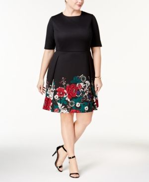 Charter Club Plus Size Floral Print Fit & Flare Dress Created for