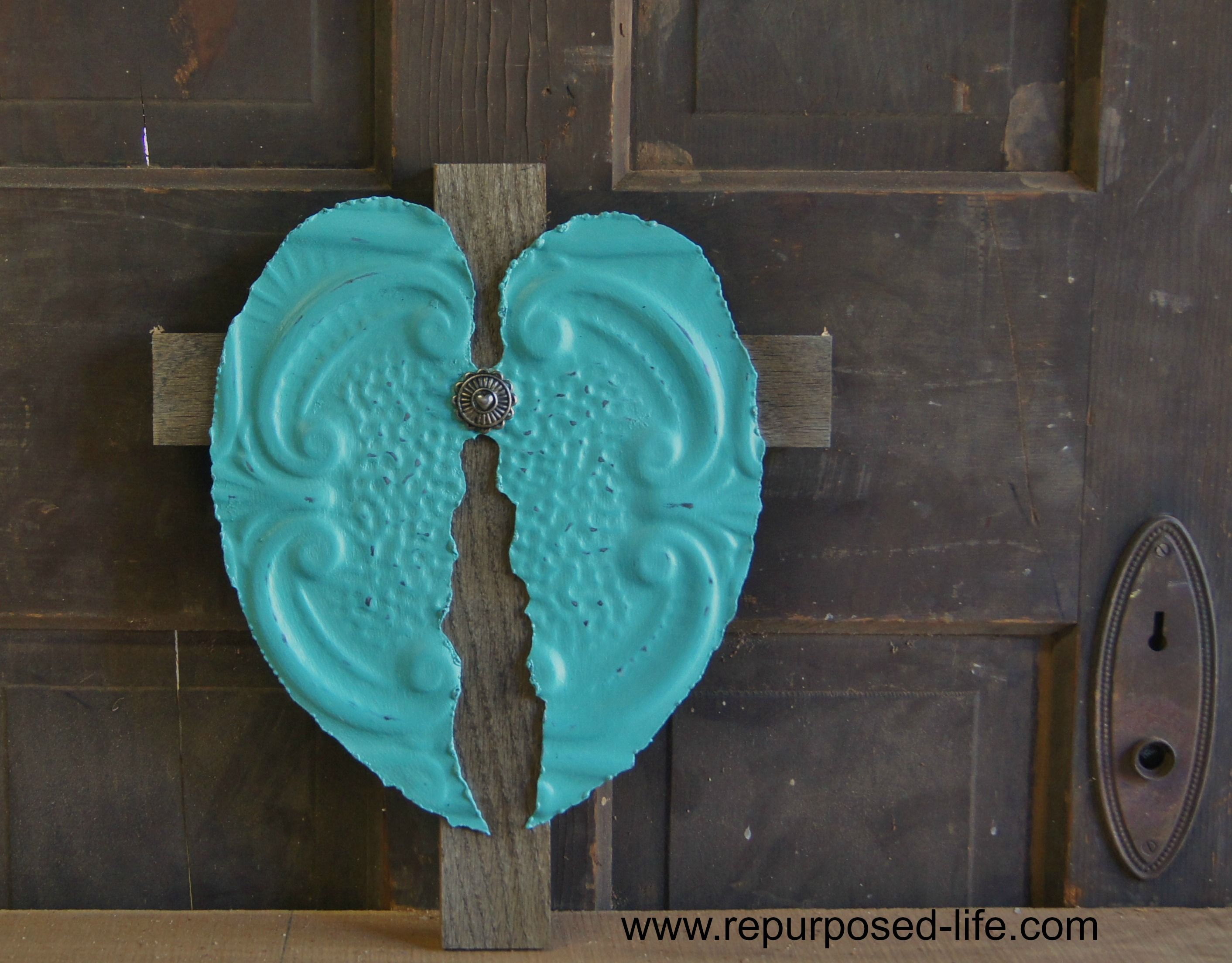 Turquoise angel wingscross made from antique ceiling tile oak turquoise angel wingscross made from antique ceiling tile dailygadgetfo Gallery