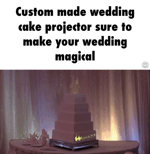 Projector on simple wedding cake