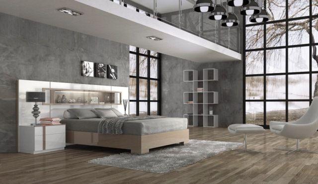 Graues Modernes Schlafzimmer Weiß Bett Kopfteil