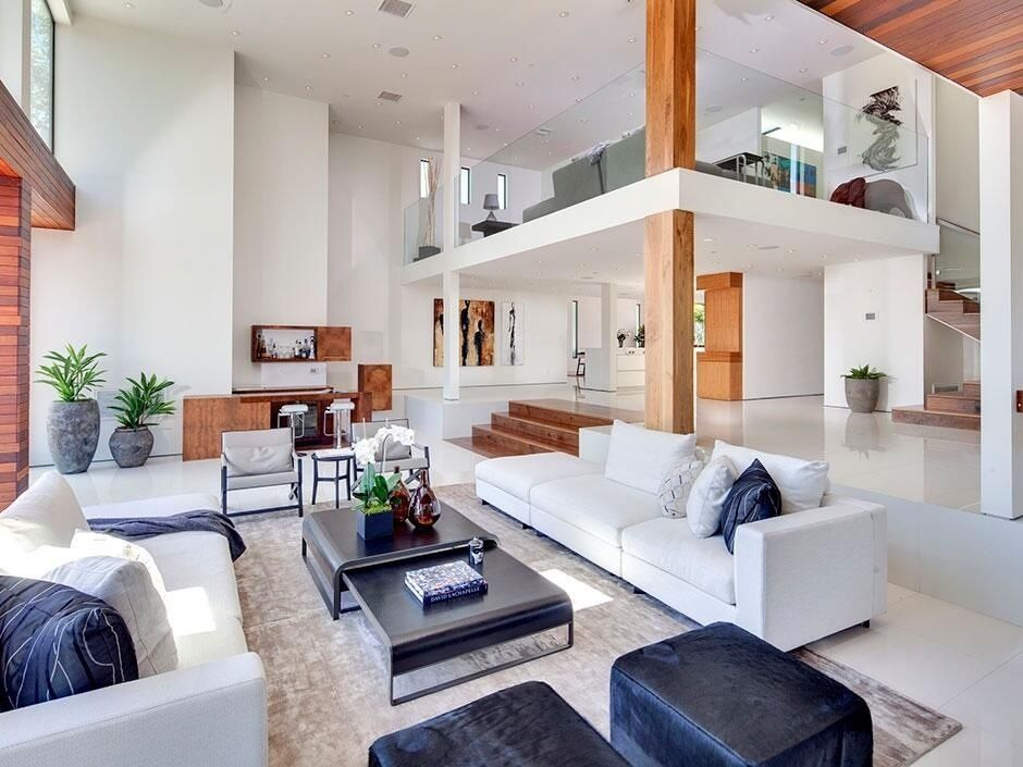 Great Contemporary Living Room With Columns Sunken Living Room Contemporary House Home Interior Architecture Design #sunken #living #room #couch