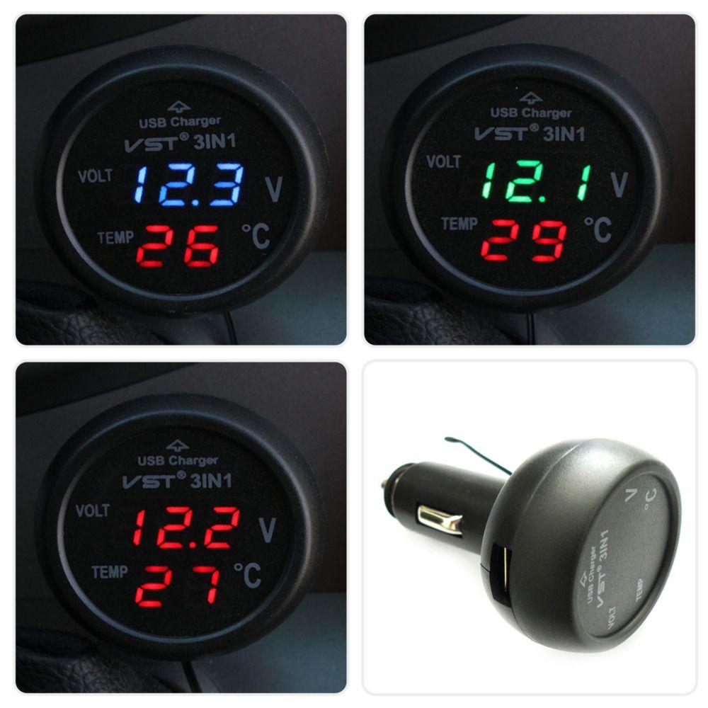 3 In 1 Digital Led Car Voltmeter Thermometer Auto Usb Charger Circuit Tester 6v 12v 24 Volts Voltage Gauge Test 24v Temperature Meter Cigarette Lighter