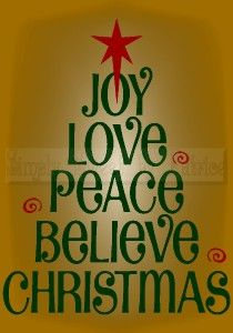 Joy   Love   Peace   Believe   Christmas Sign/quote