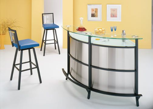 Glass Home Bar Stainless Steel Bar, Frosted Glass Top, Home Bar Furniture