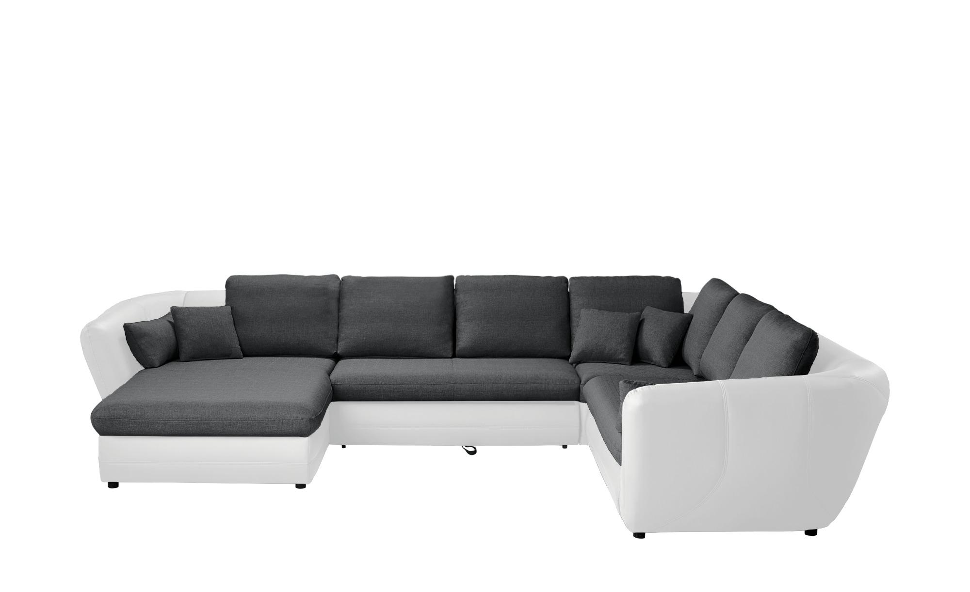 Smart Wohnlandschaft Weiss Grau Kunstleder Flachgewebe Verona Big Sofa Kaufen Sofa Design Sofa Leder