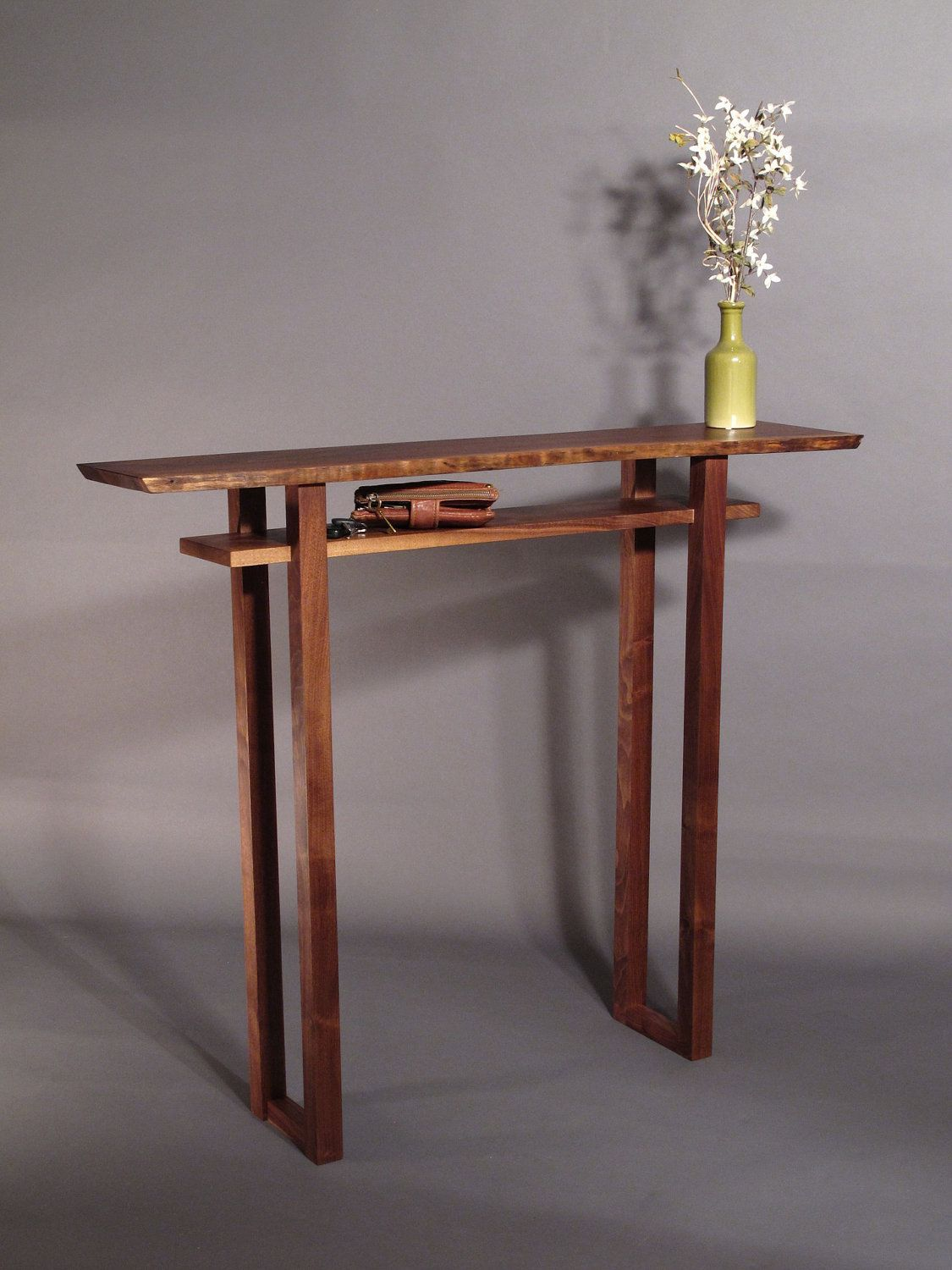 Live edge hall table handmade wood furniture for narrow hall mokuzai furnitures signature table the classic hall table in live edge walnut a beautiful narrow table perfect for your narrow console table hall table geotapseo Choice Image