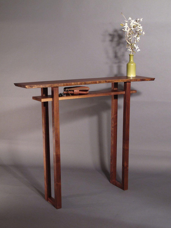 Live Edge Hall Table Handmade Wood Furniture for Narrow Hall Table