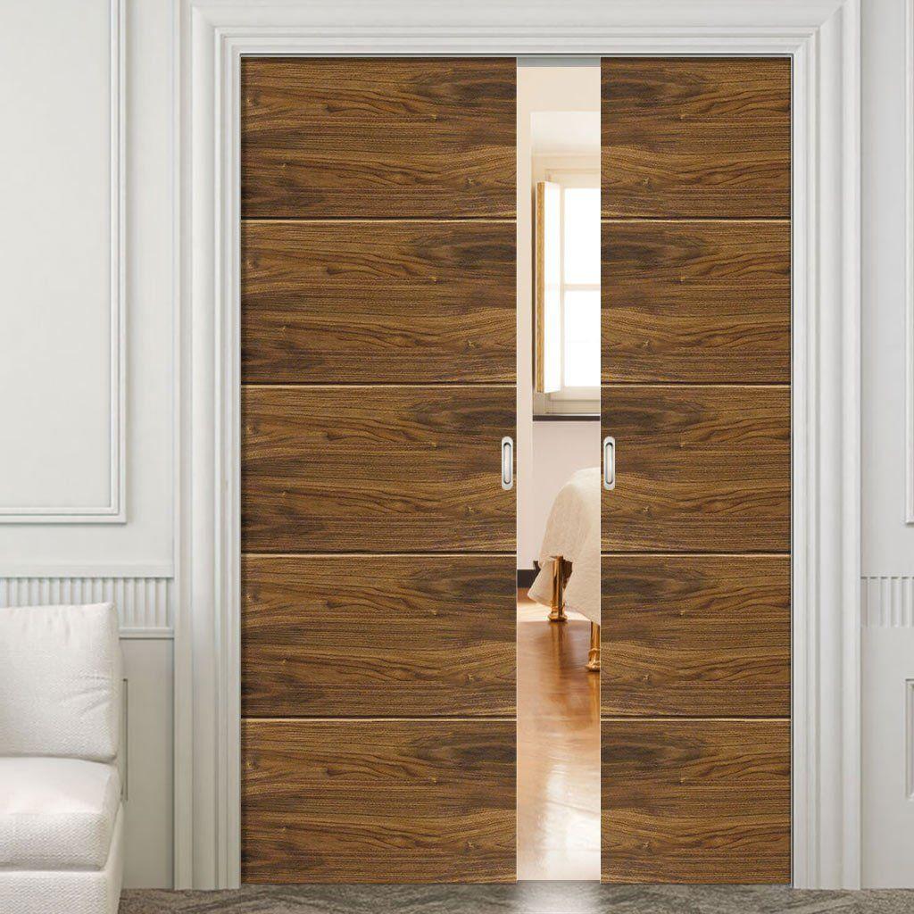 Double Pocket Lara Walnut Horizontal Grooves Sliding Door System In
