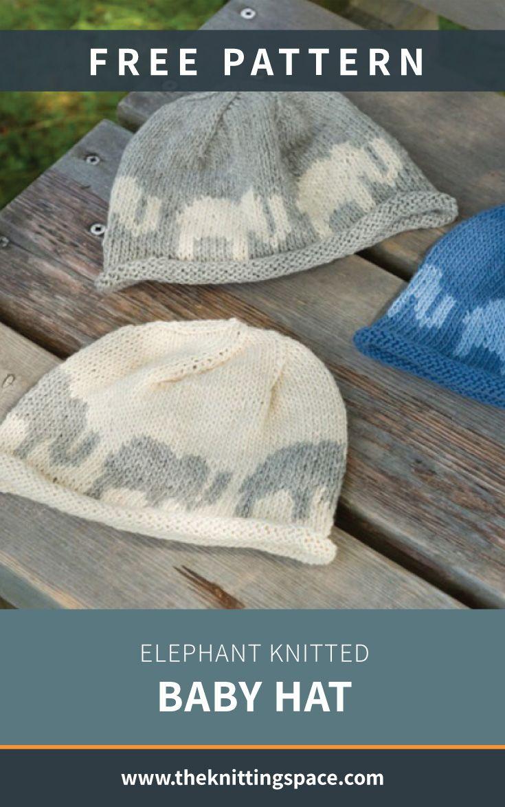 Elephant Knitted Baby Hat [FREE Knitting Pattern] #babyknittingpatterns
