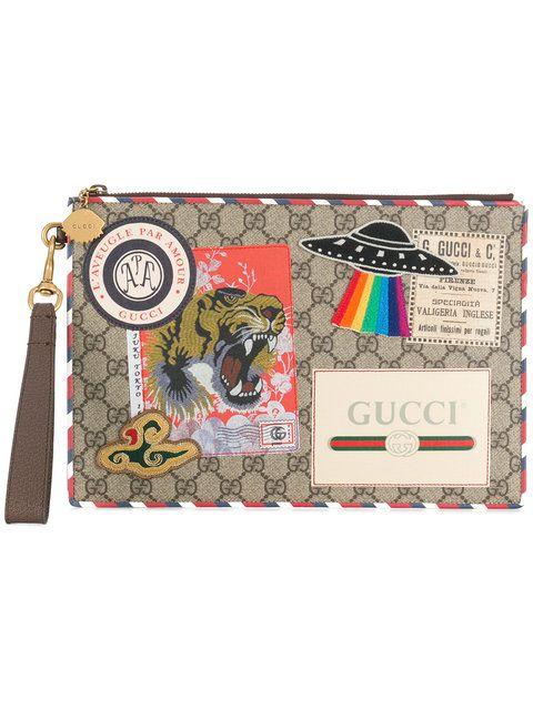 8eac4e784 GUCCI GG supreme applique pouch. #gucci # | Gucci Men | Gucci, Gucci ...
