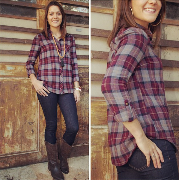 Take It Outside in this great #newarrival - 1 of many new #fallfashion finds at southernswankboutique.com #instafashion #instastyle #plaid #ootd #wiw #western #trending #fall2014 #boho #bohochic #boots