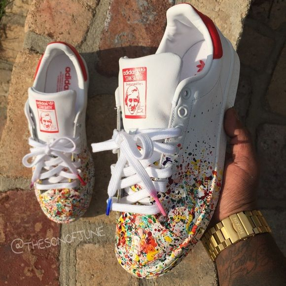 Stan Smith x Adidas x Margiela Men's Sz 9 Custom Adidas Hand Painted By Me Never Worn Og All Perfect Shoe For The Summer Follow Me On iG @THESONOFJUNE Adidas Shoes