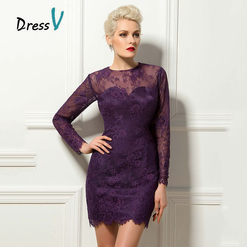 Click To Buy Dressv Purple Long Sleeves Lace Short Cocktail