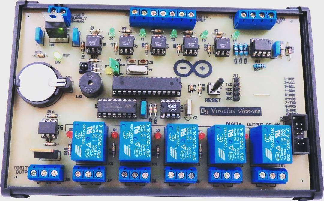 Finalized     Micro PLC with Arduino (Atmega328) 5x Relay