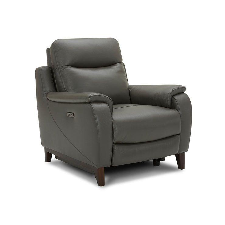 Kuka Barrett Grey Leather Power Recliner Armchair With Power Headrest Costco Uk In 2020 Reclining Armchair Power Recliners Recliner