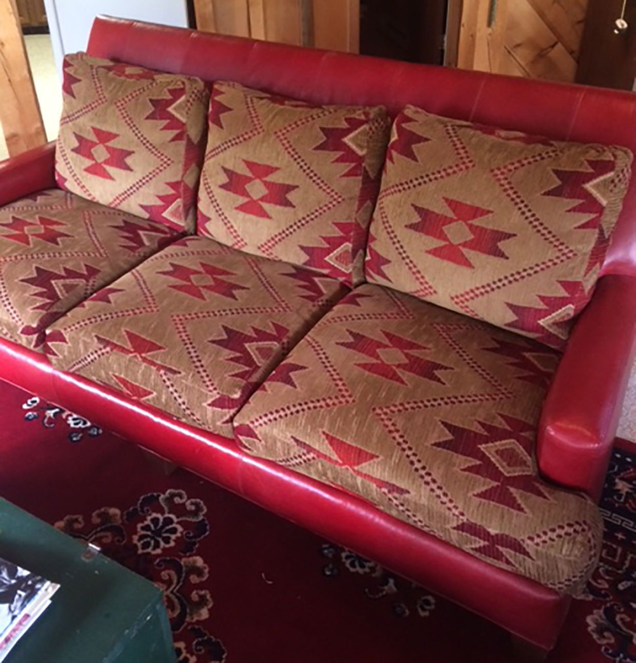 Red Leather Sofa With Southwestern Style Cushions Common  ~ Southwestern Leather Sofa