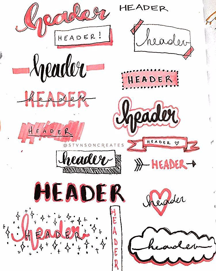 32 Bullet Journal Header and Title Ideas - Beautiful Dawn Designs