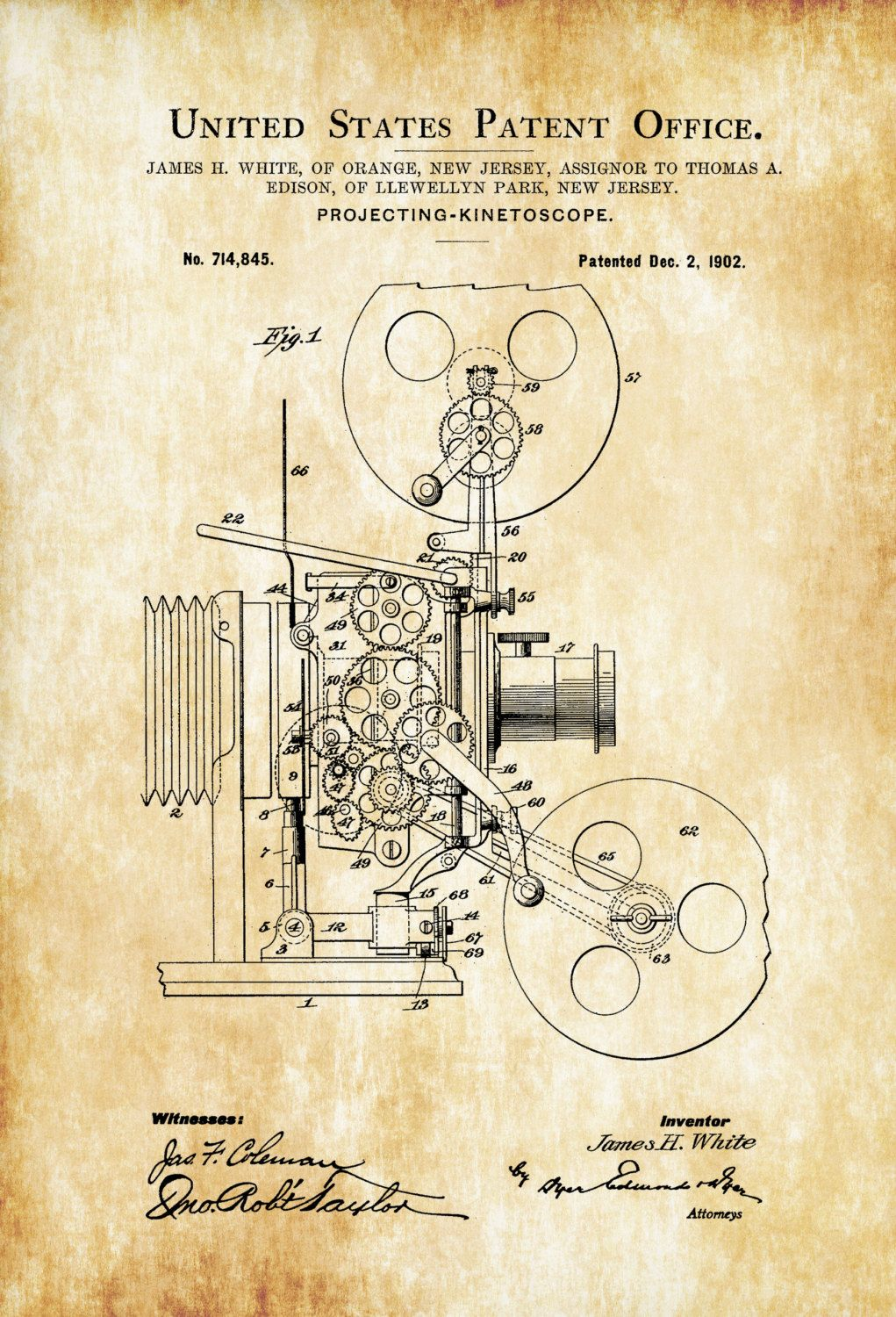 Movie Projector Patent – Patent Print, Wall Decor, Movie Poster ...