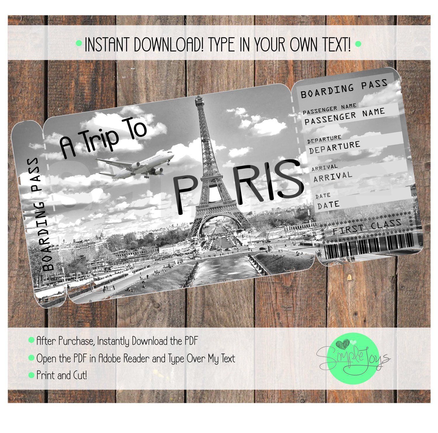 Printable Ticket To Paris Boarding Pass Surprise Vacation Etsy In 2021 Printable Tickets Boarding Pass Template Surprise Vacation