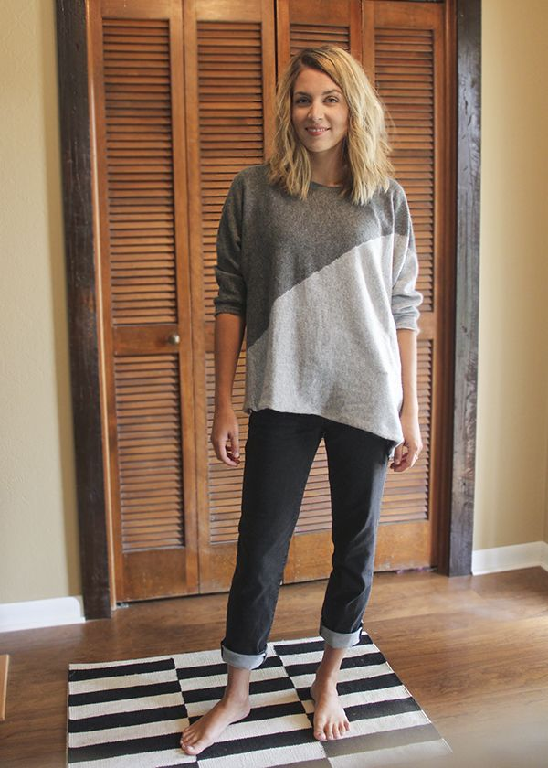 Market & Spruce - Nina Asymmetrical Sweater Tunic in Dark Grey ...