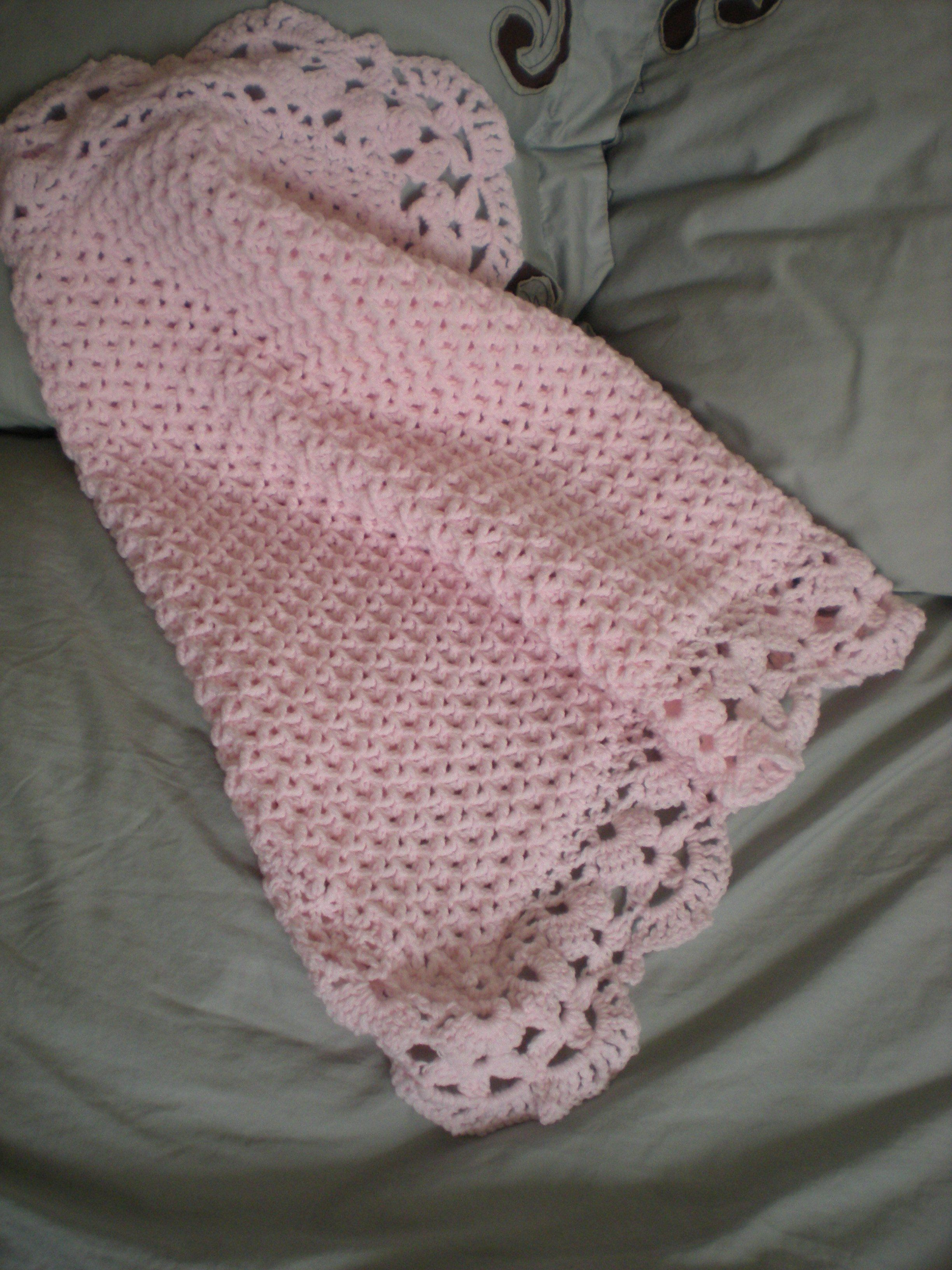 Small Pink Crochet Baby Blanket | Pinterest