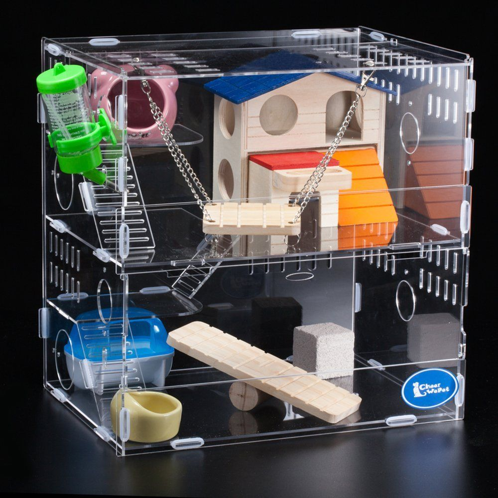 Transparent acrylic hamsters gerbil rats playhouse rodents houses condos cage villa swing seesaw wooden toys >>> Learn more by visiting the image link.