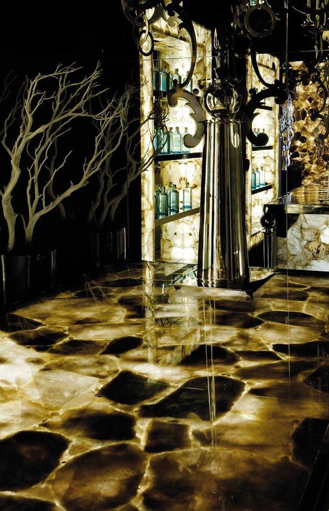Smoky Quartz Dark Backlit Interior Wall Design Stone Interior