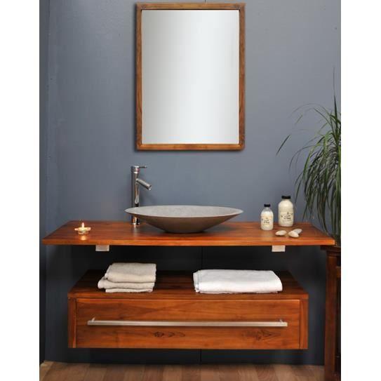 Meuble en teck eleganzia Achat / Vente meuble vasque plan Cdiscount