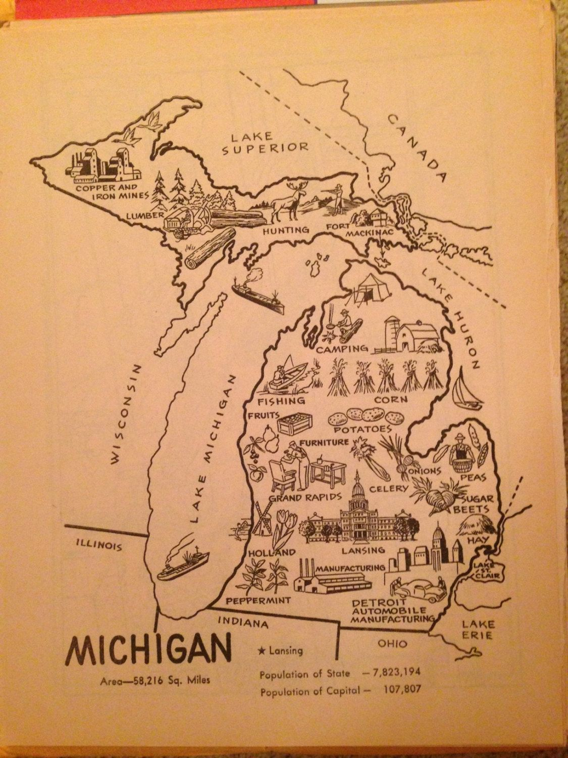 Michigan Map Decor Vintage Map Print Michigan Art Print