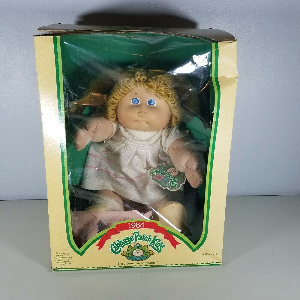 1984 Cabbage Patch Kids Doll In Box With Birth Certificate Happy Birthday Card In 2020 Cabbage Patch Kids Dolls Cabbage Patch Kids Happy Birthday Cards