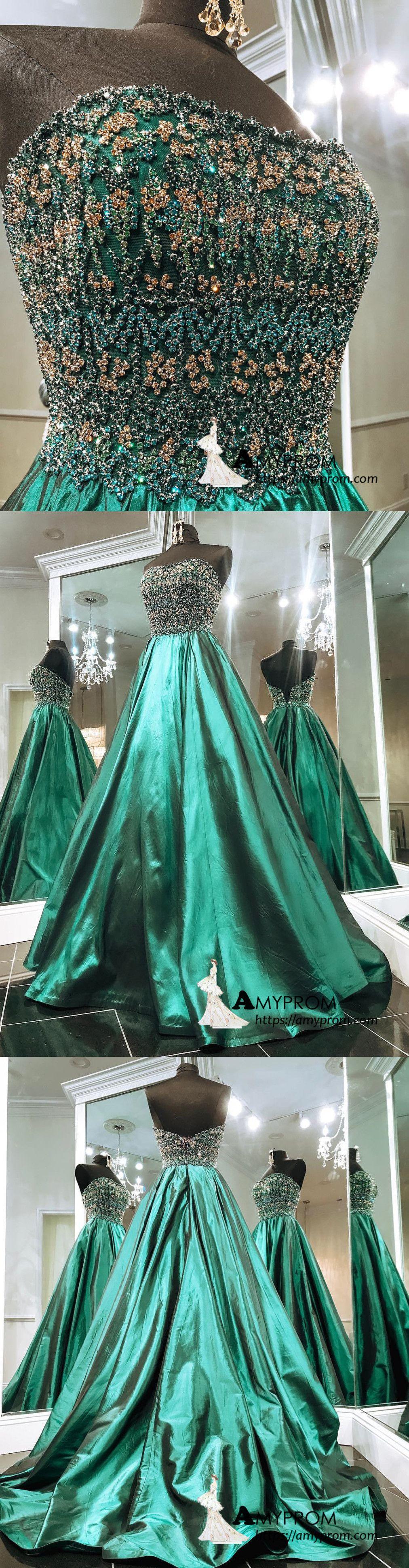 Aline strapless dark green sparkly long prom dress beaded