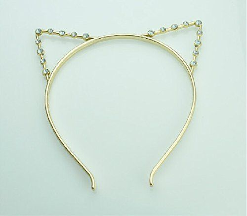 Cat Ears Party Crystal Rhinestone Headband Headwear Punk Hair Wrap (Gold) * To view further for this item, visit the image link. (This is an affiliate link and I receive a commission for the sales)