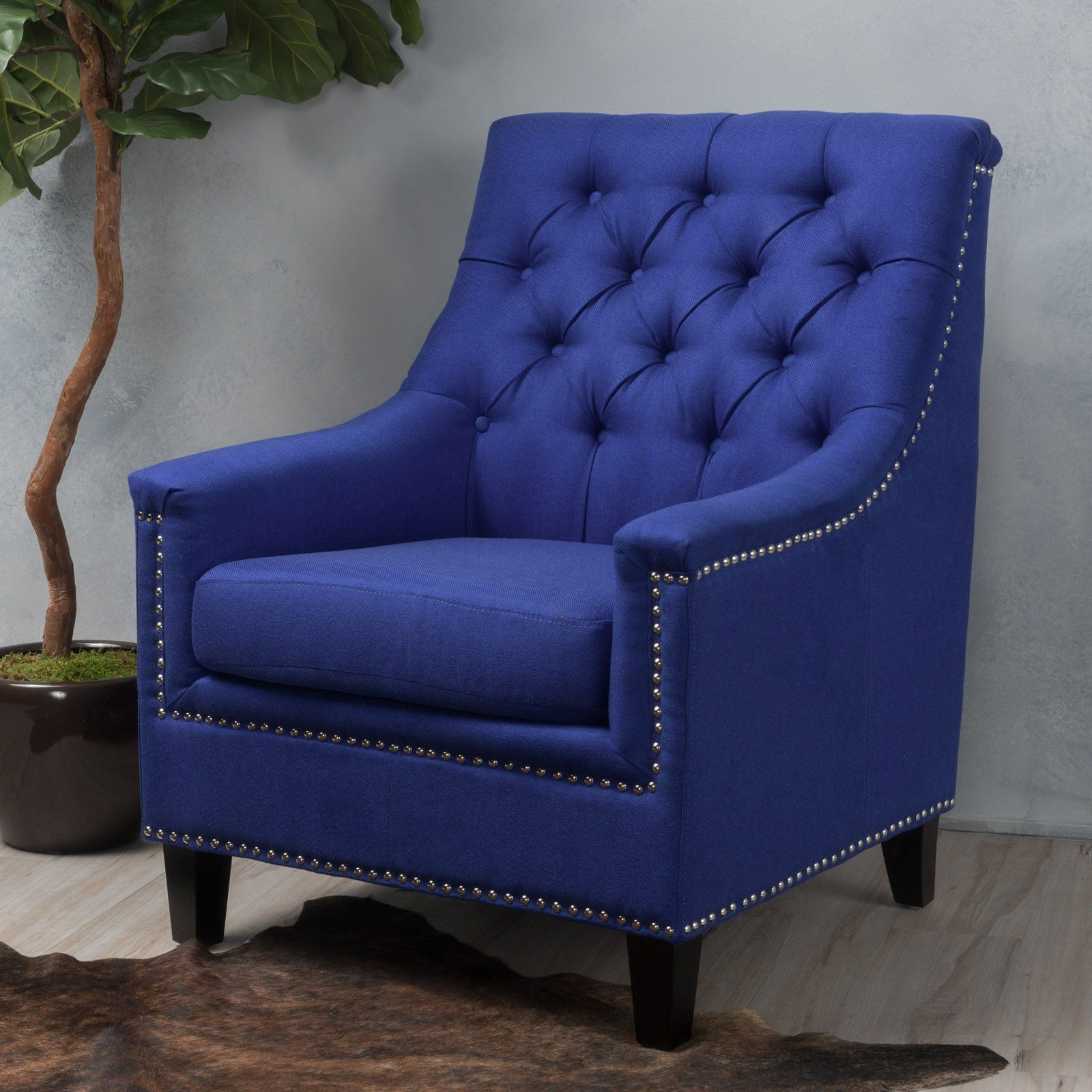 Surprising Jasline Fabric Tufted Club Chair Navy Blue Products In Gmtry Best Dining Table And Chair Ideas Images Gmtryco