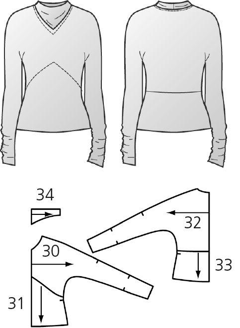 n hanleitung und schnittmuster f r ein shirt mit loop. Black Bedroom Furniture Sets. Home Design Ideas