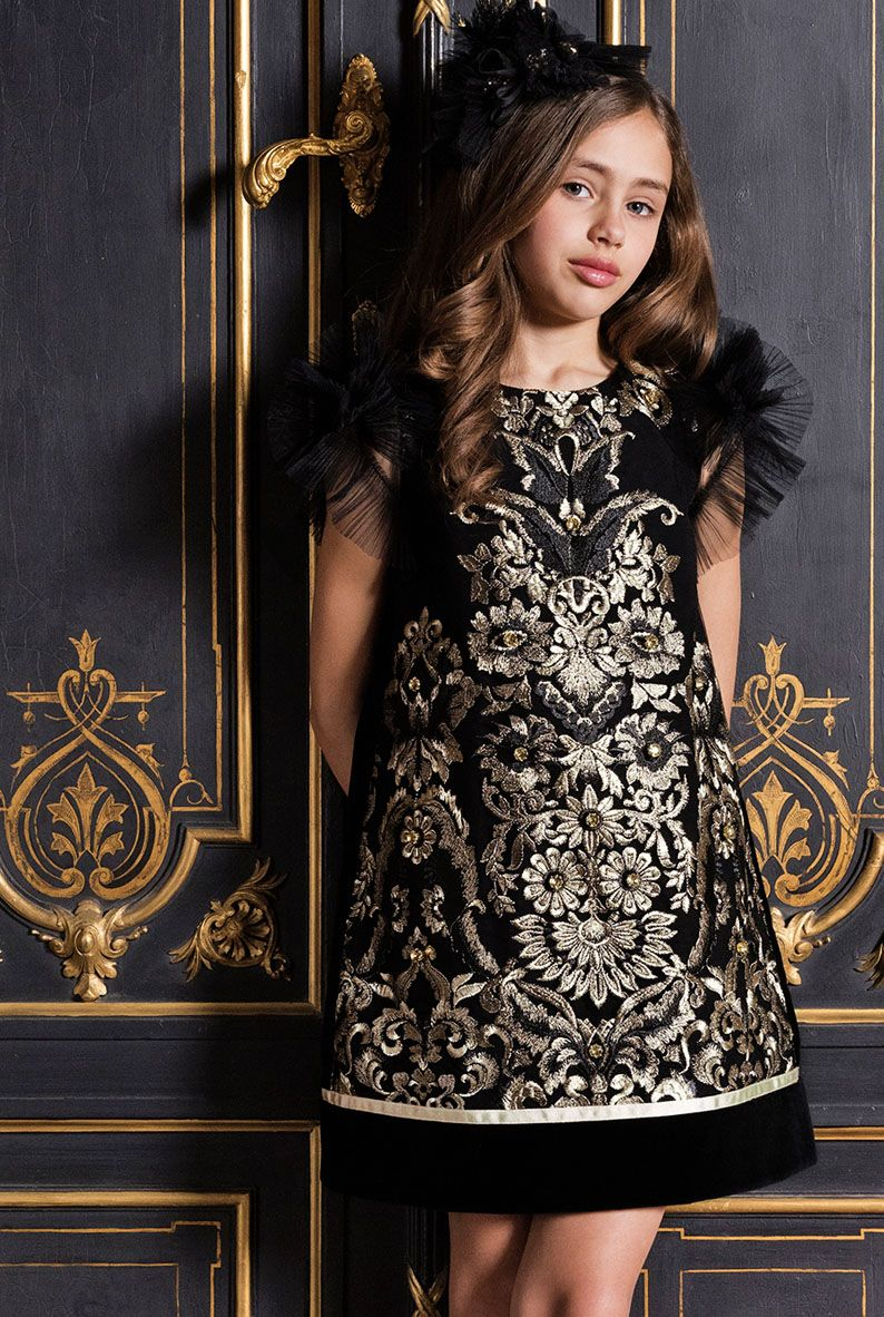 d36cd625794ee9 ALALOSHA  VOGUE ENFANTS  Must Have of the Day  Royal Lesy girls black    gold dresses for girls