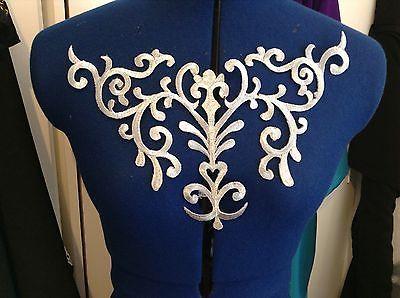 metallic silver embroidery patch lace applique motif venise irish dance costume