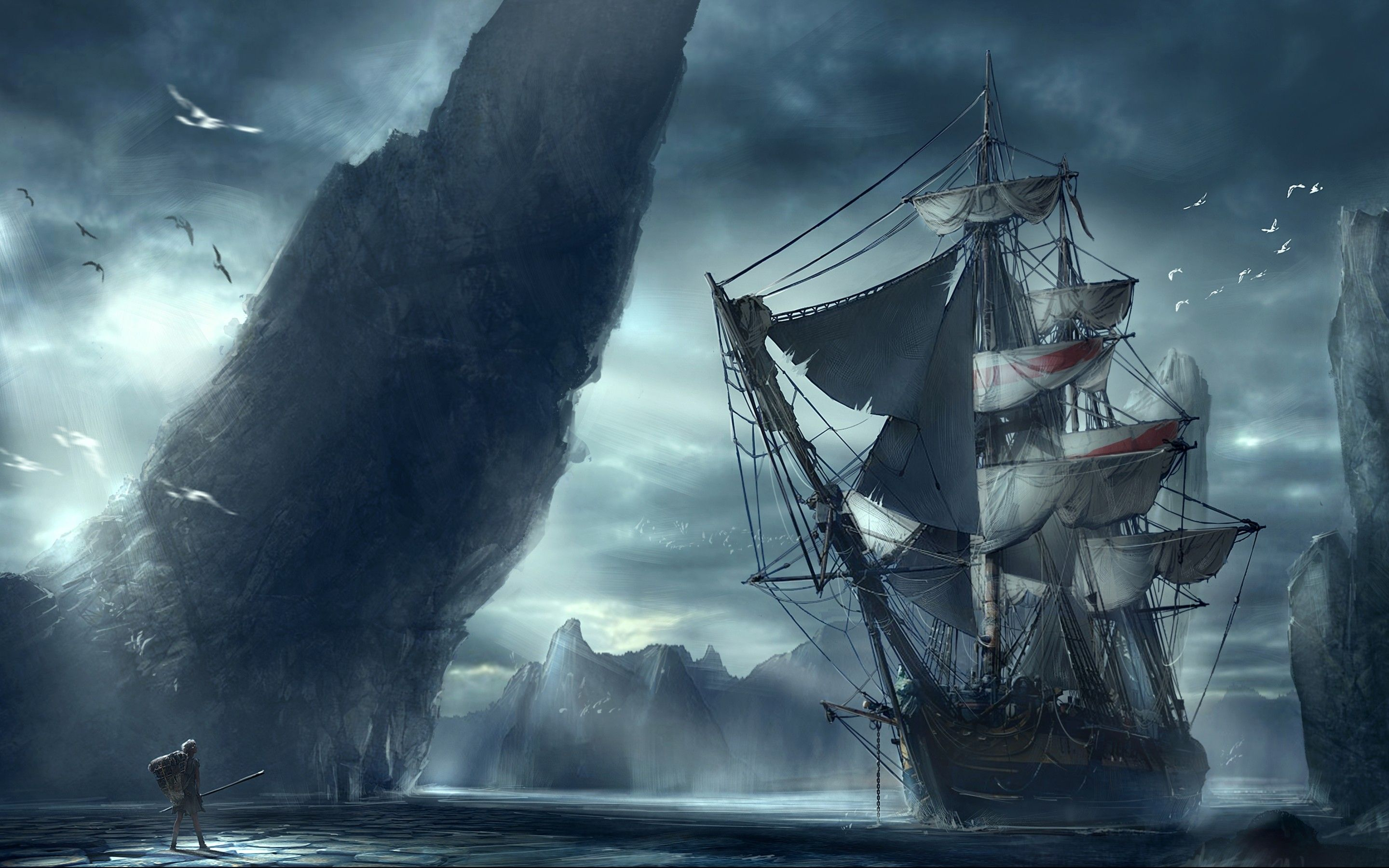 2880x1800 Ghost Pirate Ship Wallpaper Hd Ship Paintings Boat Illustration Boat Art