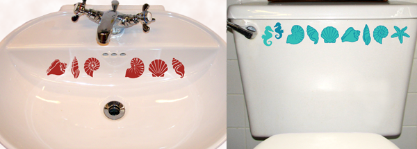 Shell Decals Shown On Bathroom Sink And Toilet. Available In 1 Color (left