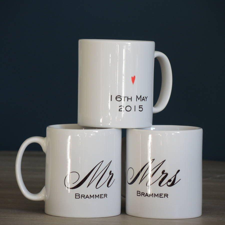 Personalised Mr And Mrs Wedding Mugs