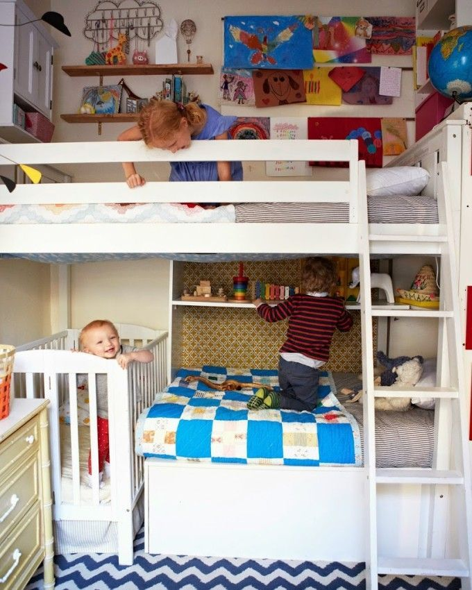 Shared kid room inspiration  Bunk beds and crib with lots of fun shelves colours Small Kids Rooms kids rooms Room bed