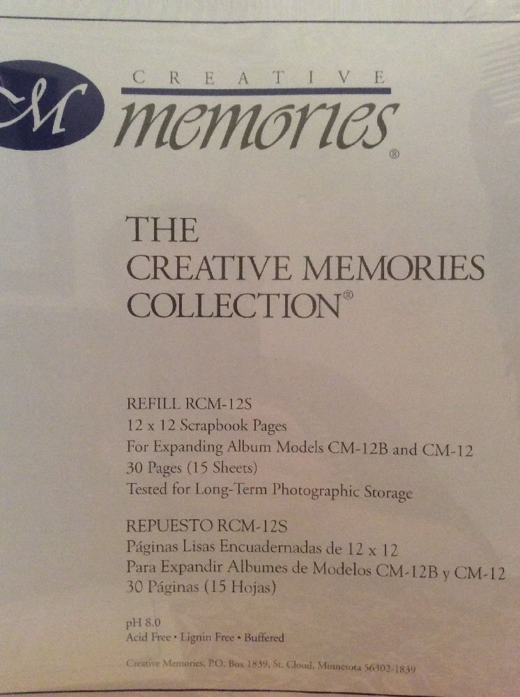 Creative Memories White Refill Pages 12x12 15 Sheet 30 Page New