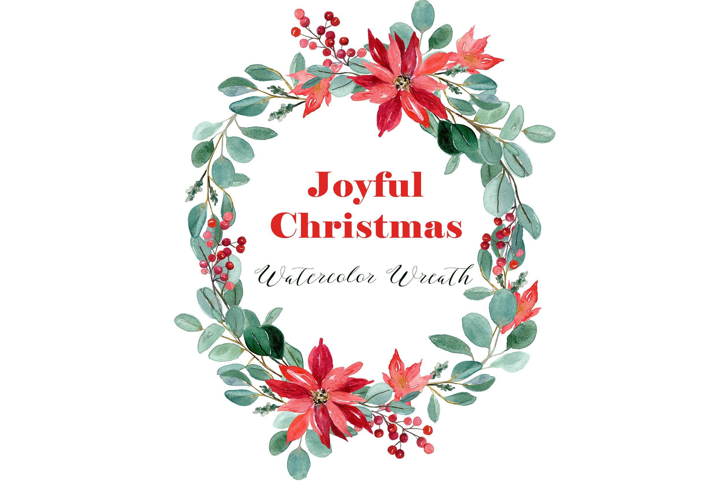Joyful Christmas Watercolor Wreath Png Watercolour Etsy Christmas Watercolor Wreath Watercolor Christmas Clipart
