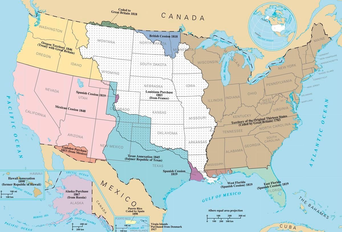 Map of the USA and Southern Canada